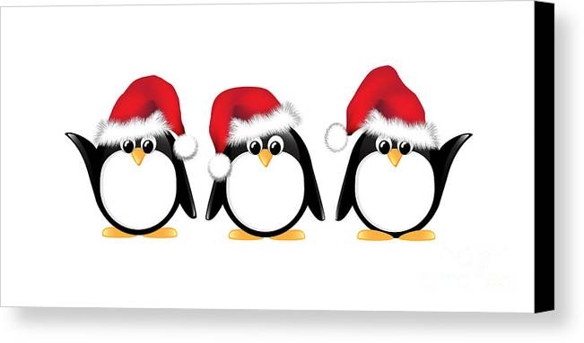 Adorable Canvas Print featuring the photograph Christmas Penguins Isolated by Jane Rix