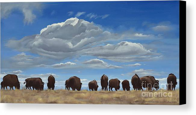 Bison Canvas Print featuring the painting Colorado Bison Moving On by Lesley Nolan