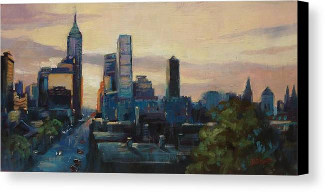 Indianapolis Canvas Print featuring the painting Indy City Scape by Donna Shortt