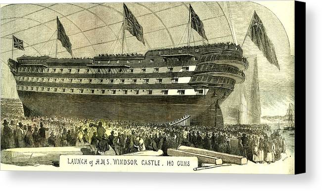 Launch Canvas Print featuring the drawing Launch Of Hms. Windsor Castle 140 Guns 1852 by English School