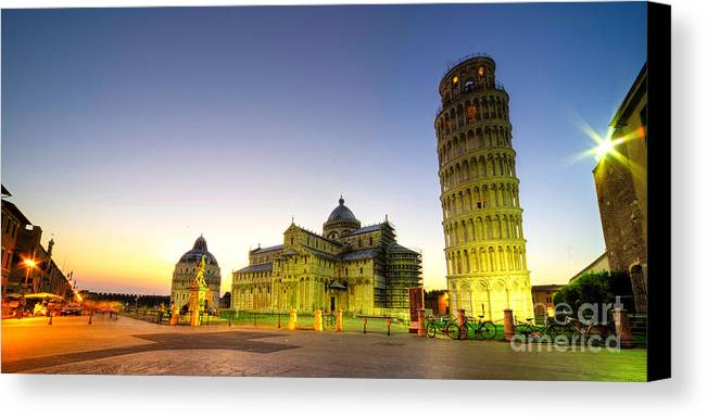 Pisa Canvas Print featuring the photograph Leaning Tower By Dusk by Rob Hawkins