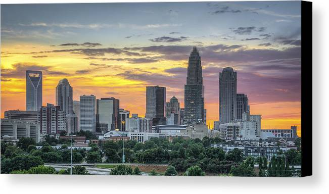 Charlotte Canvas Print featuring the photograph New South Summer Sunset by Brian Young