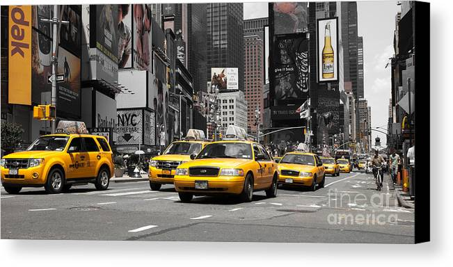 Manhatten Canvas Print featuring the photograph Nyc Yellow Cabs - Ck by Hannes Cmarits