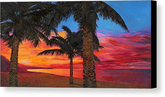 Seacape Canvas Print featuring the painting Palme Al Tramonto by Guido Borelli