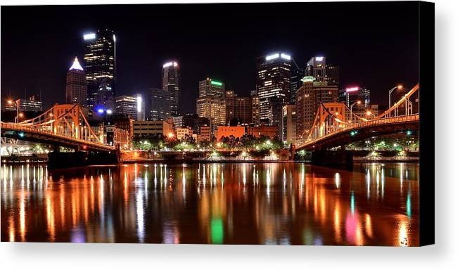 Pittsburgh Canvas Print featuring the photograph Pittsburgh Panorama by Frozen in Time Fine Art Photography
