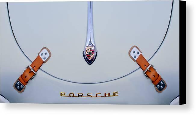 Porsche 1600 Canvas Print featuring the photograph Porsche 1600 Hood Emblem by Jill Reger