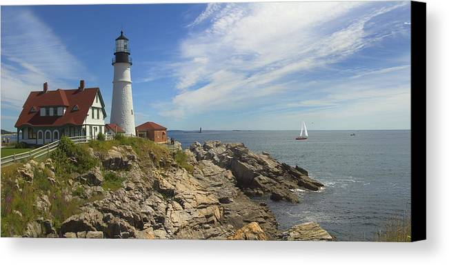 Portland Lighthouse Canvas Print featuring the photograph Portland Head Lighthouse Panoramic by Mike McGlothlen