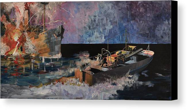 Ship Canvas Print featuring the painting Santa Eliza Martyred by Ray Agius