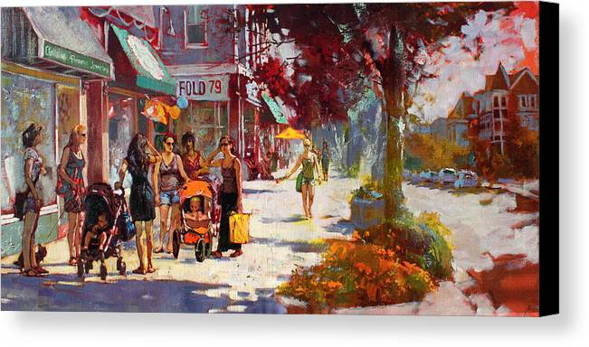 Landscape Canvas Print featuring the painting Small Talk In Elmwood Ave by Ylli Haruni