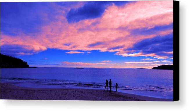 Sunset Canvas Print featuring the painting Sunset On Sand Beach Acadia National Park Maine by Paul Ge