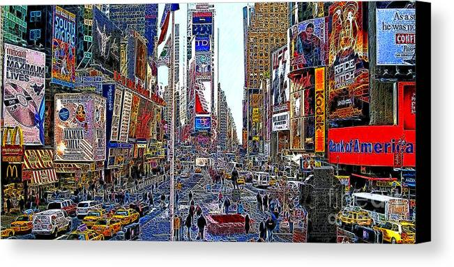 Time Square Canvas Print featuring the photograph Time Square New York 20130430 by Wingsdomain Art and Photography