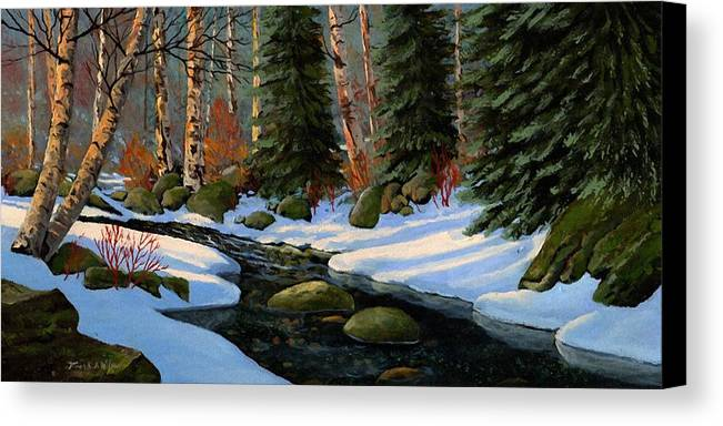 Landscape Canvas Print featuring the painting Winter Brook by Frank Wilson