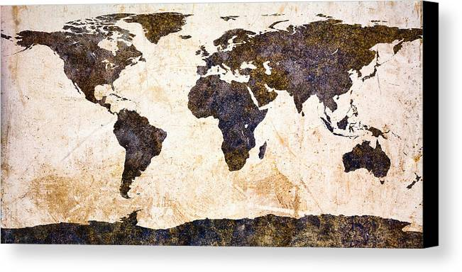 Earth Canvas Print featuring the painting World Map Abstract by Bob Orsillo