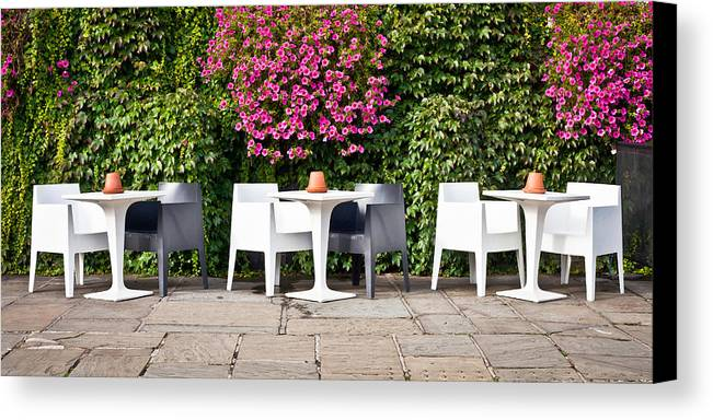Bright Canvas Print featuring the photograph Outdoor Cafe by Tom Gowanlock