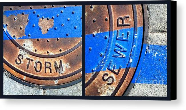 Marlene Burns Canvas Print featuring the photograph Bluer Sewer Diptych by Marlene Burns