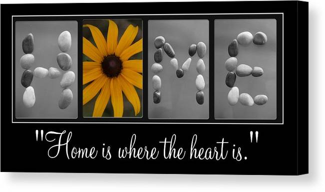 Home. Letter Art Canvas Print featuring the photograph Home Ll by PMG Images