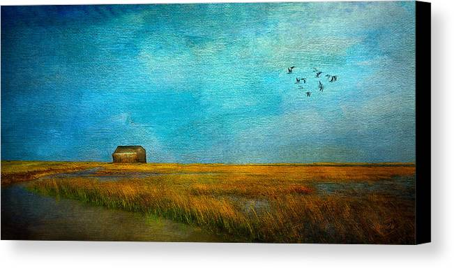 Sea Canvas Print featuring the mixed media Salt Marsh by Michael Petrizzo