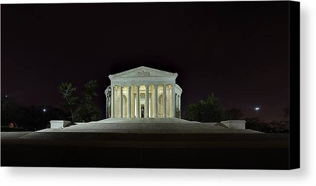 Metro Canvas Print featuring the photograph The Lonely Tourist At Jefferson Memorial by Metro DC Photography