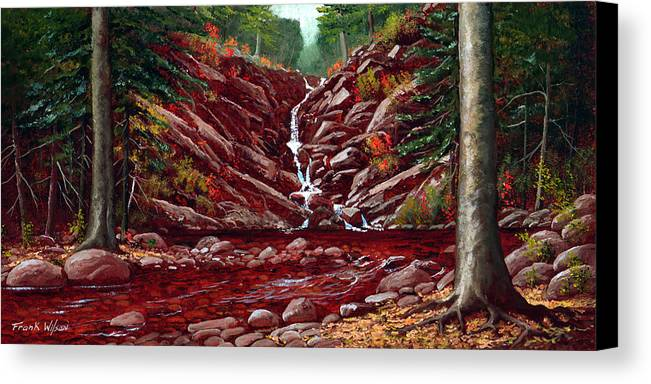 Frank Wilson Canvas Print featuring the painting Deepwoods Cascade by Frank Wilson