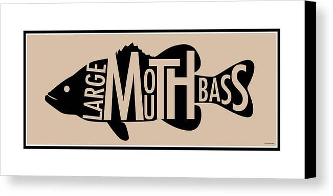 Largemouth Canvas Print featuring the digital art Largemouth Bass by Geoff Strehlow