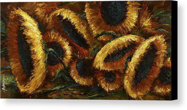 Sunflowers Canvas Print featuring the painting Sunflowers by Michael Lang