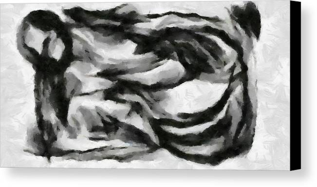 Canvas Print featuring the painting Abstract Monochome 162 by D A Diggs