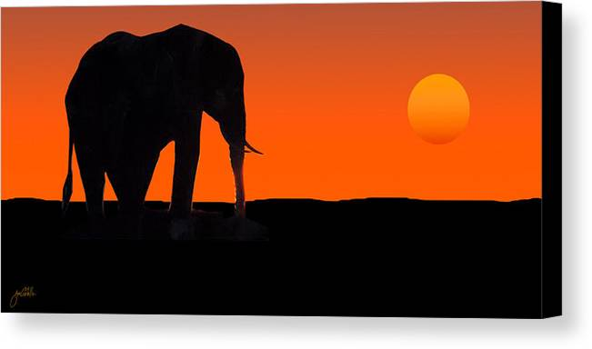Elephant Canvas Print featuring the painting African Sunset by Joe Costello