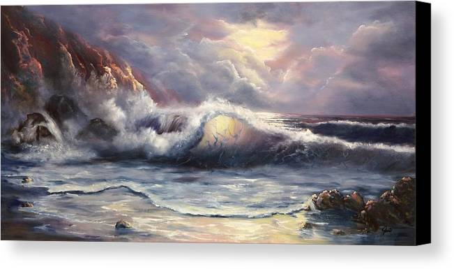 Ocean Canvas Print featuring the painting After The Storm by Joni McPherson