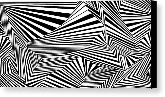 Dynamic Black And White Canvas Print featuring the painting Awesomeness by Douglas Christian Larsen