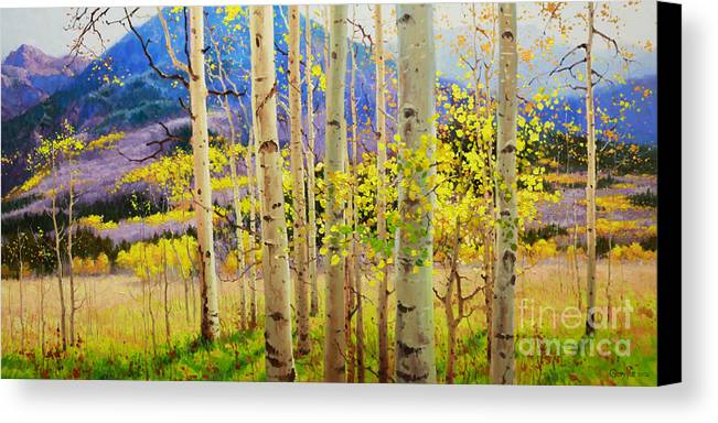 Aspen Forest Tree Canvas Print featuring the painting Beauty Of Aspen Colorado by Gary Kim