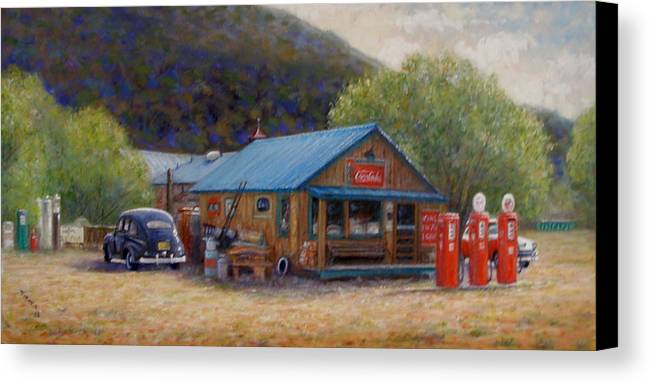 Realism Canvas Print featuring the painting Below Taos 2 by Donelli DiMaria