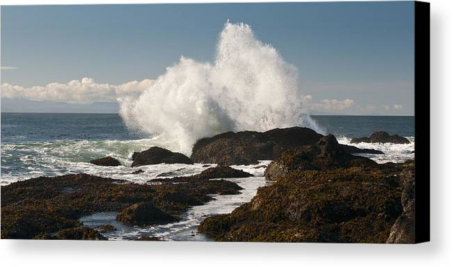 Shoreline Canvas Print featuring the photograph Breaking On The Shore by Chad Davis