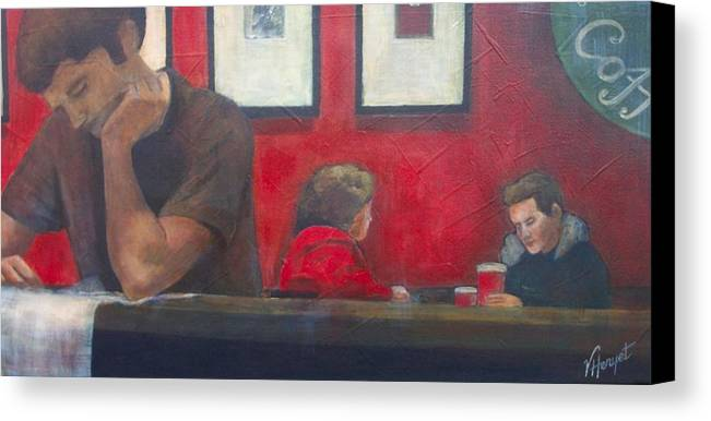 Coffe Shop Canvas Print featuring the painting Catching Up by Victoria Heryet