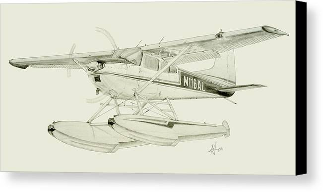 Cessna Canvas Print featuring the drawing Cessna 180h On Floats by Nicholas Linehan