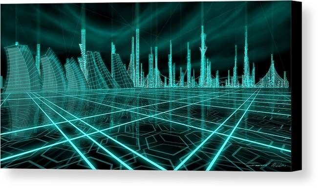 Science Fiction City Canvas Print featuring the painting Cityscape 2010 Alpha by James Christopher Hill