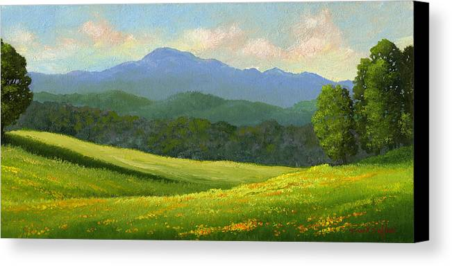 Landscape Canvas Print featuring the painting Dandelion Meadows by Frank Wilson