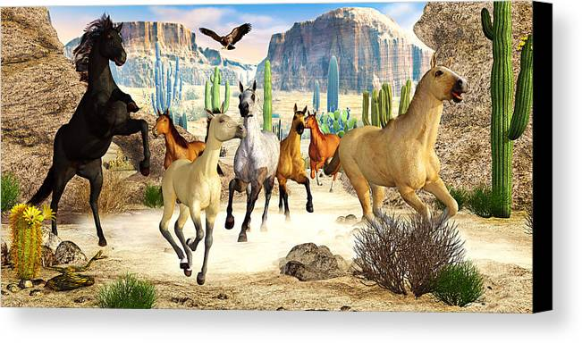 Horses Canvas Print featuring the photograph Desert Horses by Peter J Sucy