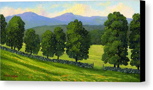 Landscape Canvas Print featuring the painting Distant Mountains by Frank Wilson