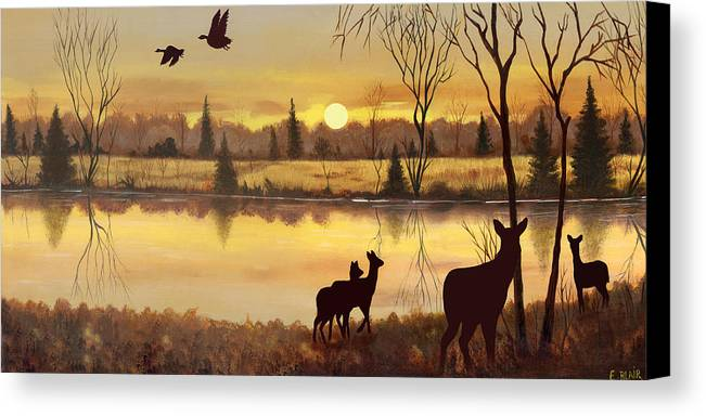 Deer Wildlife Sunrise Water Woods Scenery Landscape Canvas Print featuring the painting Early Morning Alert1 by Eileen Blair