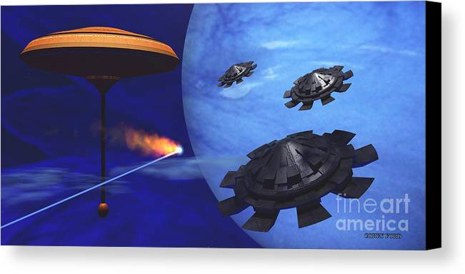 Meteor Canvas Print featuring the painting Floating Space City by Corey Ford