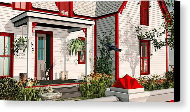 Victorian House Canvas Print featuring the painting Gothic Cat House by Peter J Sucy