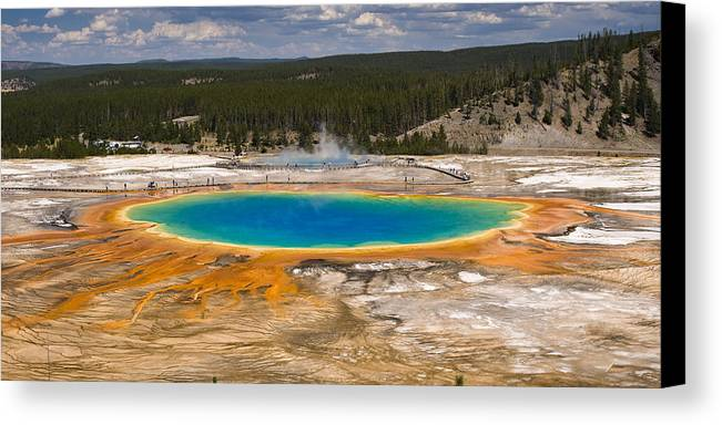 Grand Prismatic Spring Canvas Print featuring the photograph Grand Prismatic Spring by Chad Davis