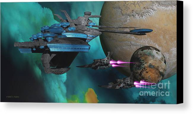 Space Art Canvas Print featuring the painting Green Nebular Expanse by Corey Ford