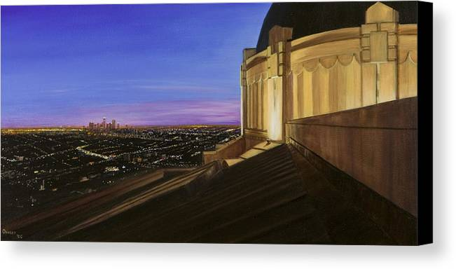 Griffith Park Observatory Canvas Print featuring the painting Griffith Park Observatory by Christopher Oakley