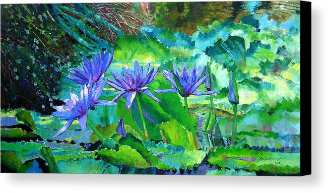 Purple Water Lilies Canvas Print featuring the painting Harmony Of Purple And Green by John Lautermilch