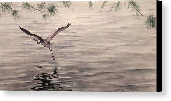 Heron Canvas Print featuring the painting Heron In Flight by Debbie Homewood