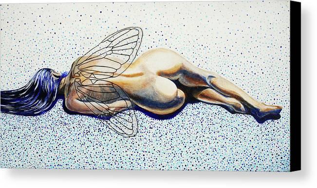 Nude Canvas Print featuring the painting Hibernation by Gita Skujina
