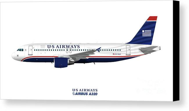 Us Airways Canvas Print featuring the digital art Illustration Of Us Airways Airbus A320 by Steve H Clark Photography