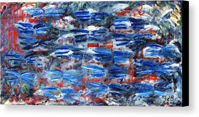Abstract Blue Red White Speed Rectangular Canvas Print featuring the painting Inside Out by Joan De Bot