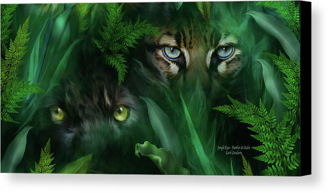 Big Cat Art Canvas Print featuring the mixed media Jungle Eyes - Panther And Ocelot by Carol Cavalaris